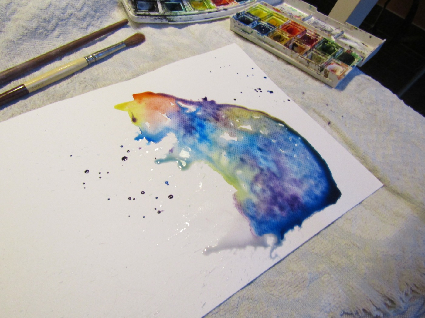 Cat Abstract Watercolour